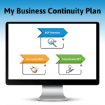 My Business Continuity Plan, computer screen showing three colorful arrows and icons for three My BCP pathways in the app